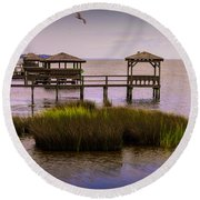 The Waterfront At Duck  Round Beach Towel