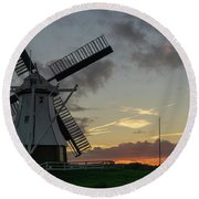 Round Beach Towel featuring the photograph The White Mill by Anjo Ten Kate