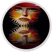The Wizard Lady Of The Sun Round Beach Towel