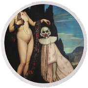 The Woman And Puppet Round Beach Towel