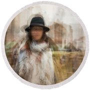 Round Beach Towel featuring the photograph The Woman In The Black Hat by Alex Lapidus