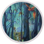 The World Between The Trees Round Beach Towel