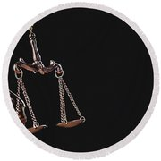 Themis, Symbol Of Law, With Measuring Scale Round Beach Towel