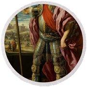 'theodoric, Visigoth King', 1635, Spanish School, Oil On Canvas, 205 Cm X 118 Cm... Round Beach Towel