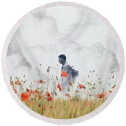 The Time Traveler  Round Beach Towel