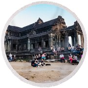 They Come To See Angkor Wat, Cambodia Round Beach Towel
