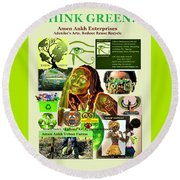 Think Green Round Beach Towel