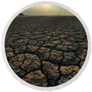 Round Beach Towel featuring the photograph Thirsty Ground by Davor Zerjav