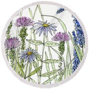 Thistle Asters Blue Flower Watercolor Wildflower Round Beach Towel