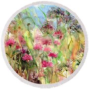 Thistles Impression II Round Beach Towel