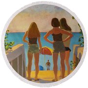 Three Beach Girls Round Beach Towel