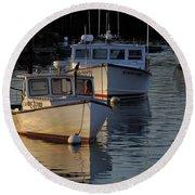 Three Boats In Maine Round Beach Towel