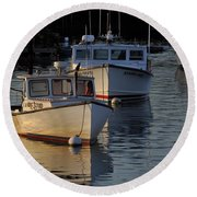 Three Boats In Maine Round Beach Towel