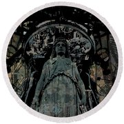 Three Caryatids Round Beach Towel