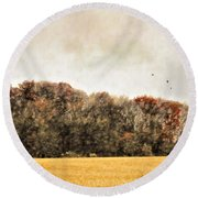 Three Crows And Golden Field Round Beach Towel