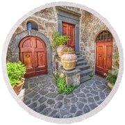 Three Doors Of Tuscany Round Beach Towel