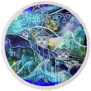 Three Houses On A Cliff Round Beach Towel