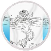 Three Mermaids All In A Row Round Beach Towel