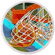 Round Beach Towel featuring the photograph Three Point Shot From Downtown Nothing But Net Basketball 20190106 by Wingsdomain Art and Photography