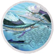 Three Sailfish And Bait Ball Round Beach Towel