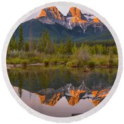 Three Sisters Driftwood Reflections Round Beach Towel