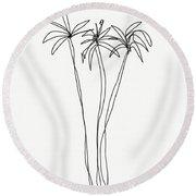 Three Tall Palm Trees- Art By Linda Woods Round Beach Towel