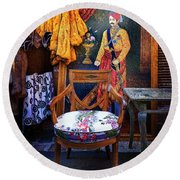 Round Beach Towel featuring the photograph Throne Chair Of The Puce Du Saint Ouen Waiting For Its Queen by Craig J Satterlee
