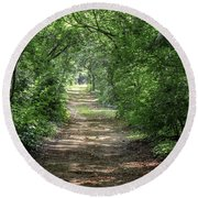 Round Beach Towel featuring the photograph Through The Forest by Dale Kincaid