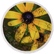 Round Beach Towel featuring the photograph Through The Meadow Grasses by Dale Kincaid