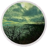 Thunder Mountain Clouds Round Beach Towel