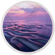 Tidal Flats Sunset Round Beach Towel