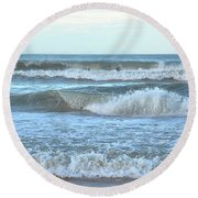 Round Beach Towel featuring the photograph Tides' A Rollin' In by Jamart Photography