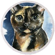 Tiffany Tortoiseshell Cat Painting Round Beach Towel
