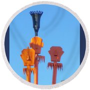 Tiki Palm Springs Round Beach Towel