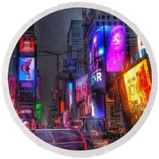 Times Square - The Light Fantastic 2016 Round Beach Towel