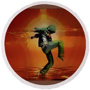 Tip Toe Dancer Round Beach Towel