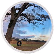 Round Beach Towel featuring the photograph Tire Swing Tree by Brian Eberly