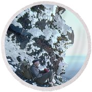 Round Beach Towel featuring the photograph Tm5301 Ed Parker On Three Fingered Jack 1957 Or by Ed Cooper Photography