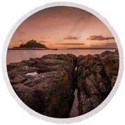 To The Sunset - Marazion Cornwall Round Beach Towel