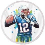 Tom Brady, Patriots, Nfl Round Beach Towel