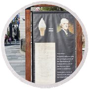 Round Beach Towel featuring the photograph Tomas Jefferson's Ice Cream Recipe At Rushmore Monument by Tatiana Travelways