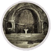 Tomb And Altar In The Monastery Of San Pedro De Rocas Round Beach Towel