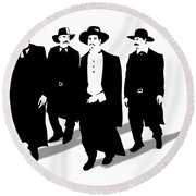 Tombstone Dogs Round Beach Towel
