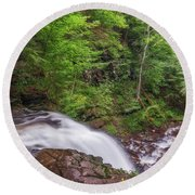 Round Beach Towel featuring the photograph Top Of The Falls by Sharon Seaward