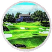 Round Beach Towel featuring the photograph Top Of The Rock Golf Course - Branson Missouri by Mike Braun