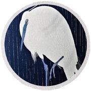 Top Quality Art - Rains White Egret Round Beach Towel