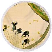 Top Quality Art - Rice Planting Girl Round Beach Towel