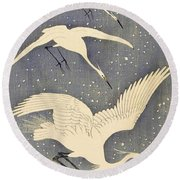 Top Quality Art - Snows Egret Round Beach Towel