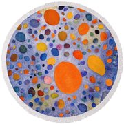 Top Quality Art - Yellow Circle In Blue Round Beach Towel