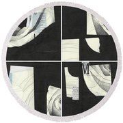 Torn Beauty No. 4 Round Beach Towel